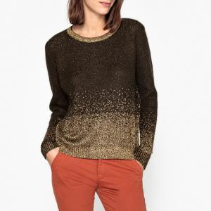 Пуловер с круглым вырезом из блестящего трикотажа ELYNE BERENICE. Цвет: хаки