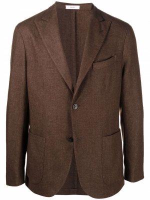 Однобортный пиджак из смесовой шерсти Boglioli. Цвет: коричневый