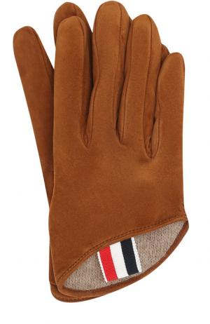 Замшевые перчатки с кашемировой подкладкой Thom Browne. Цвет: коричневый