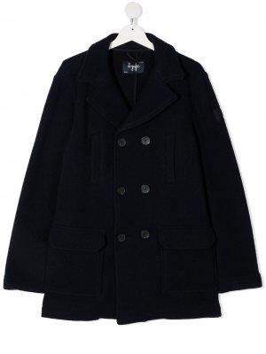Приталенный двубортный пиджак Il Gufo. Цвет: синий