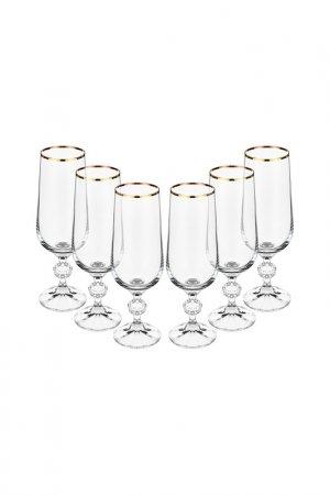 Бокал для шампанского 6 шт BOHEMIA CRYSTAL. Цвет: отводка, золотой