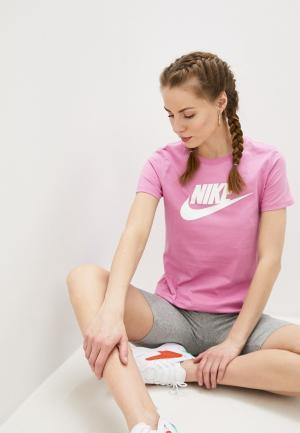 Футболка Nike W NSW TEE ESSNTL ICON FUTUR. Цвет: розовый