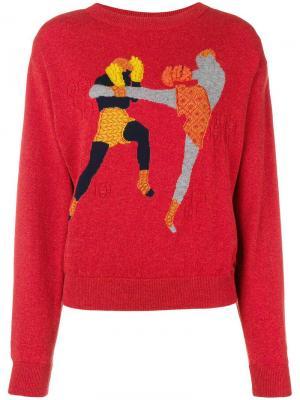 Кашемировый пуловер Chessboxing с круглым вырезом Barrie. Цвет: красный