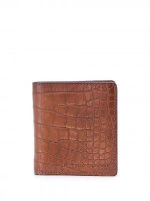 Бумажник с тиснением под кожу крокодила Brunello Cucinelli. Цвет: коричневый