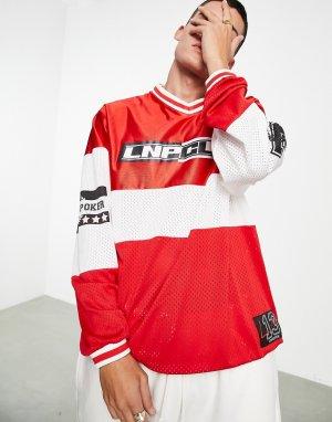 Красный трикотажный топ с принтом хоккейного клуба Liquor N Poker