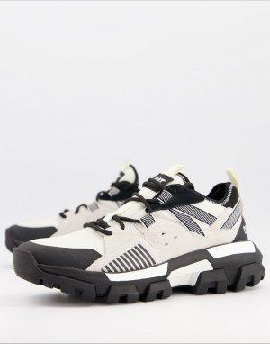 Черно-белые кроссовки на толстой подошве CAT Raider-Белый Footwear