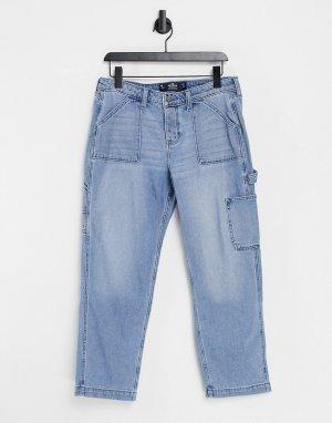 Голубые выбеленные джинсы бойфренда -Голубой Hollister