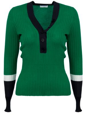 Шерстяной пуловер HUGO BOSS. Цвет: зеленый