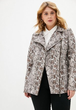 Куртка кожаная Авантюра Plus Size Fashion. Цвет: разноцветный