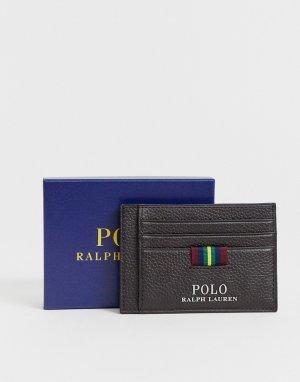 Коричневая кожаная визитница с зажимом для банкнот -Коричневый Polo Ralph Lauren
