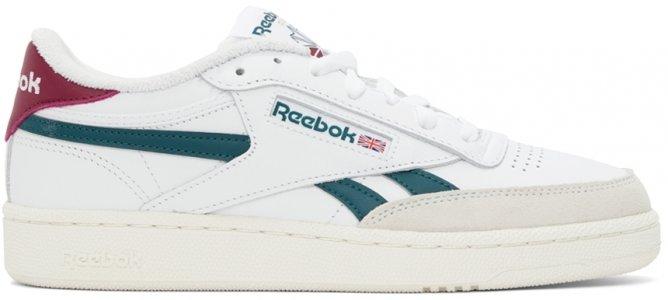 White & Green Club C Revenge Sneakers Reebok Classics. Цвет: ftwr white/midnight