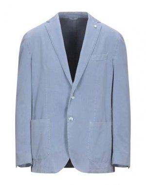 Пиджак LUIGI BIANCHI ROUGH. Цвет: небесно-голубой