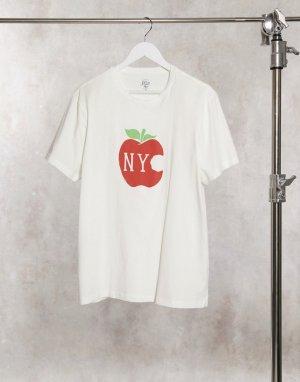 Футболка с принтом NYC и яблоком -Белый J Crew