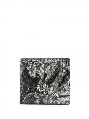 Бумажник с цветочным принтом Bally. Цвет: черный