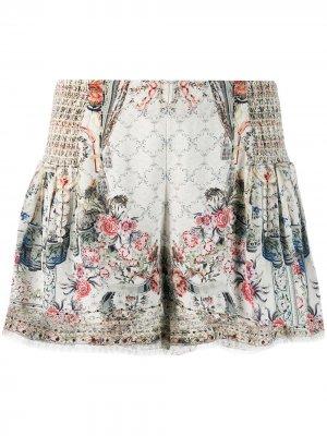 Расклешенные шорты с цветочным принтом Camilla. Цвет: нейтральные цвета