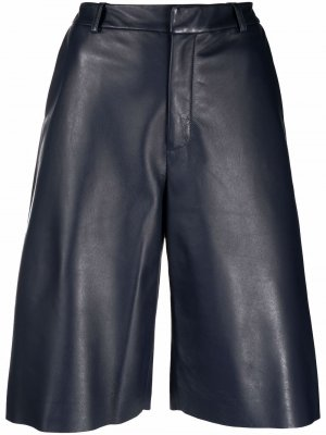 Кожаные шорты-бермуды с завышенной талией Simonetta Ravizza. Цвет: синий