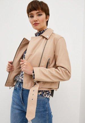 Куртка кожаная Whistles ADRIANA BIKER. Цвет: бежевый