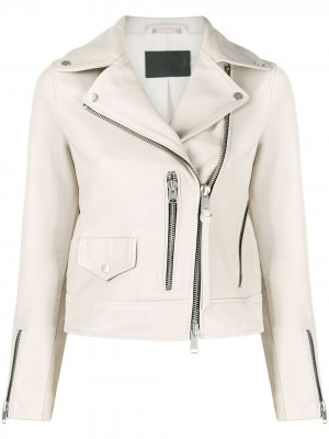 Байкерская куртка на молнии AllSaints. Цвет: нейтральные цвета