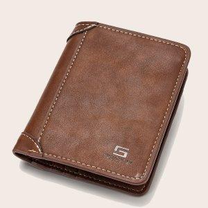 Маленький кошелек для мужчин с текстовым рисунком SHEIN. Цвет: коричневые
