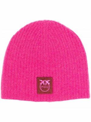 Шапка бини с нашивкой-логотипом Pinko. Цвет: розовый