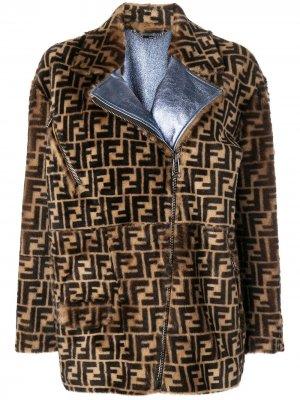 Меховая куртка-бомбер с логотипами FF Fendi. Цвет: коричневый