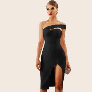 Вечернее Платье С Открытыми Плечами И Разрезом На Боку SHEIN. Цвет: чёрный