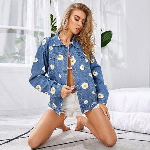 Джинсовая куртка с цветочным принтом SHEIN. Цвет: синий
