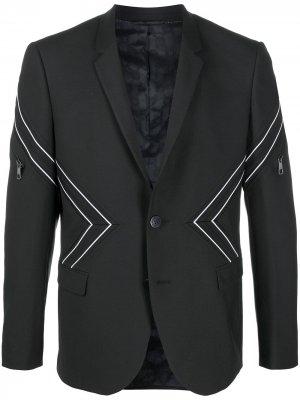 Однобортный пиджак с узором шеврон Neil Barrett. Цвет: черный