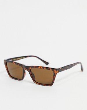 Солнцезащитные очки унисекс в квадратной светло-коричневой черепаховой оправе Nancy-Коричневый цвет A.Kjaerbede