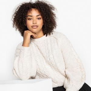 Пуловер с круглым вырезом из плотного трикотажа CASTALUNA. Цвет: слоновая кость