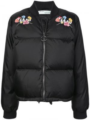 Дутая куртка с вышивкой Off-White. Цвет: черный