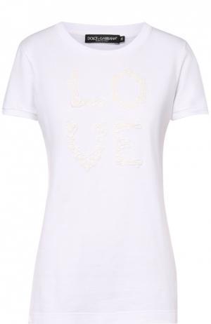 Приталенная футболка с кружевным принтом Dolce & Gabbana. Цвет: белый