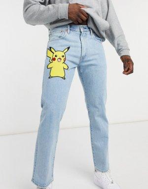 Прямые выбеленные джинсы с принтом Пикачу Levis x Pokemon 551z-Голубой Levi's