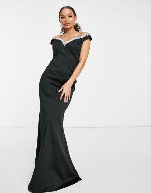 Черное платье макси с вышивкой, вырезом лодочкой и юбкой годе -Черный Goddiva