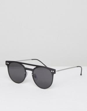 Круглые солнцезащитные очки с планкой сверху в черной оправе Spitfire. Цвет: черный