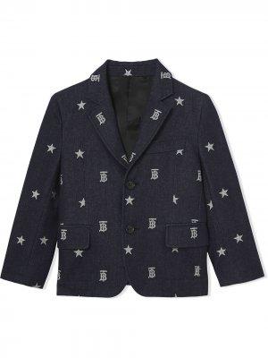 Однобортный пиджак с монограммой Burberry Kids. Цвет: синий