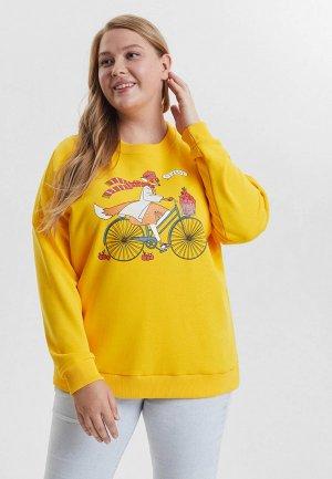 Свитшот Barmariska Лиса на велосипеде. Цвет: желтый