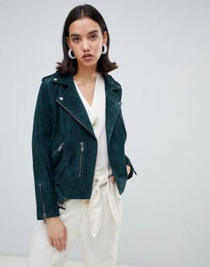 Кожаная байкерская куртка Selected. Цвет: зеленый