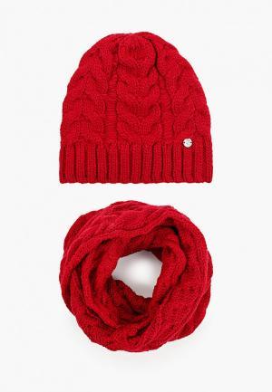 Комплект TrendyAngel шапка и снуд 35х130 см. Цвет: бордовый