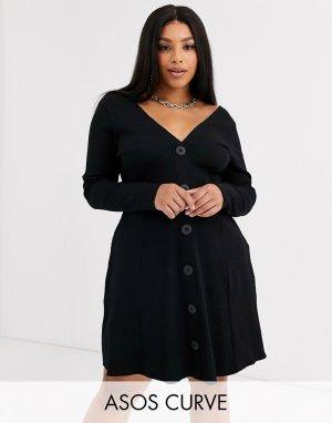 Черное чайное платье в рубчик с большими пуговицами и длинными рукавами ASOS DESIGN Curve-Черный Curve