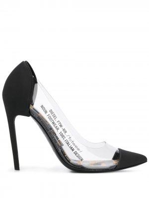 Туфли-лодочки с заостренным носком и прозрачными вставками Diesel. Цвет: черный
