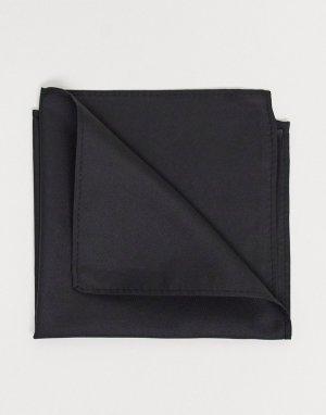 Атласный черный платок для нагрудного кармана -Черный цвет ASOS DESIGN