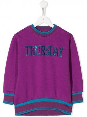 Джемпер Thursday с пайтеками Alberta Ferretti Kids. Цвет: фиолетовый