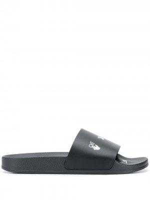 Logo-print slide sandals Off-White. Цвет: черный