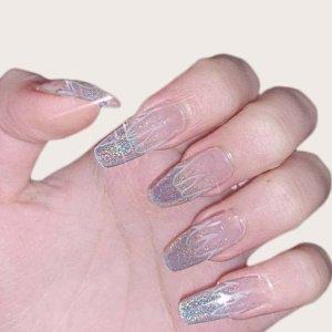 24шт блестящие накладные ногти и 1 лист лента SHEIN. Цвет: серебряные