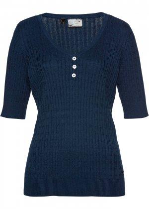 Пуловер bonprix. Цвет: синий