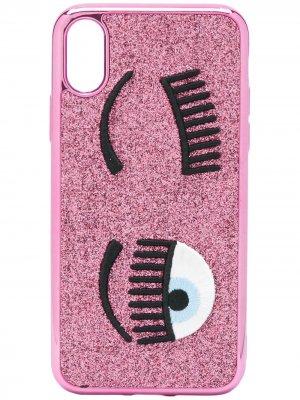 Чехол Flirting с вышивкой для iPhone XS Chiara Ferragni. Цвет: розовый