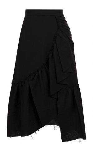 Однотонная хлопковая юбка-миди с оборками Rachel Comey. Цвет: черный