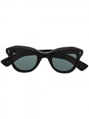 Солнцезащитные очки в оправе кошачий глаз Lesca. Цвет: черный