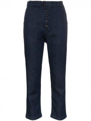 Укороченные брюки чинос с завышенной талией 3x1. Цвет: синий